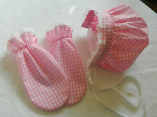 ADULT LADIES OR MENS BABY BONNET AND SCRATCH MITTENS SET, HEN/STAG NIGHT BNWOT
