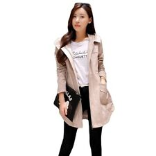 Women Autumn And Winter Windbreaker Trench Coat Hooded Cotton Long Spring Coat