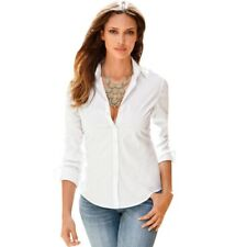 Women Shirts OL Slim Fit Long Sleeve Button Down Casual Solid Shirt