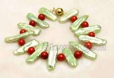 20-15mm Green Natural Biwa Pearl and 6mm Round Red Coral 7.5'' Bracelet-bra375