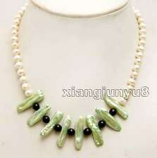 White 6-7mm Round pearl & 20-25mm Biwa Pearl and Black Agate 17'' Necklace-n6296
