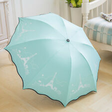 Black Vinly Anti UV Compact Folding Umbrella Lovely Girls Parasol