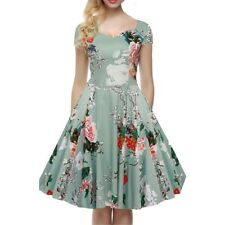 Women Floral V Neck Short Sleeve A Line Gown Party Dress PQ096
