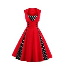 Spring Summer Fashion Red Color Polka Dots Patchwork Sleeveless Dress For Women