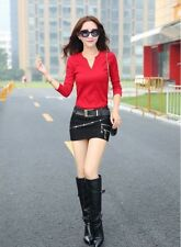 Autumn Fashion Tight Stitching Solid Pattern Above Knee Mini Skirt for Women