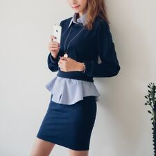 Autumn Long-Sleeved Two Pieces Solid Color Slim Fit Casual Dress For Women