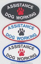 ASSISTANCE DOG WORKING PATCH 2X4 inch Danny & LuAnns Embroidery service support