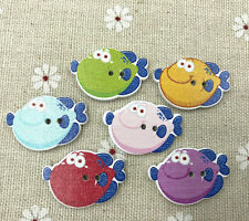 Wooden Cartoon smile fish buttons sewing Scrapbooking decoration 28mm