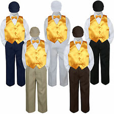 5pc Boys Suit Set Yellow Vest Bow Tie Baby Toddlers Kids Formal Hat Pants S-7