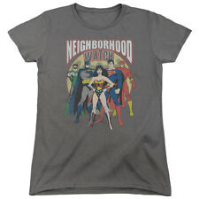 Justice League Heroes NEIGHBORHOOD WATCH Licensed Women's T-Shirt All Sizes