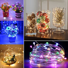 Battery Operated 20/40/50 LED Micro Wire Fairy String Lights Bendable Party Xmas