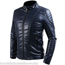 Leather Jacket Men Slim Fit Fashion Fitted Mens Leather Jackets Slim Fit M411