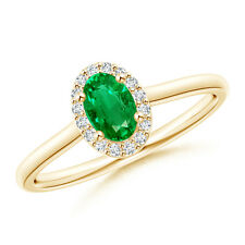 Prong-Set Oval Emerald and Diamond Halo Ring 14K Yellow Gold Size 3-13