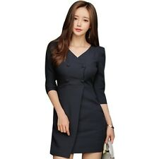 Spring V-Neck Black Casual Work Office Party Pencil Sheath Bodycon Dress