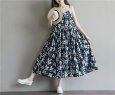 Women Summer New Loose Plus Size Flower Printed Spaghetti Strap Casual Dress