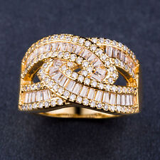 Infinity 18k Yellow Gold Plated Princess Cut White Sapphire Ring Size 7-9