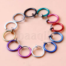 Painless Non Piercings Clip On Fake Prank Rings Ear Nose Lip Rings Hoop 13mm DA