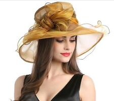 Kentucky Church Derby Hat Women Formal Wedding Wide Brim Tea Party Organza Hats