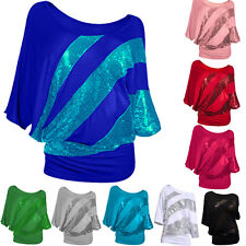 Women's Loose Long Sleeve Sequins Batwing Dolman Tunic Blouse Top T-Shirt Plus