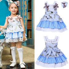 Girls Flower Dress with Headband 2PCS Kids Bow Polka Dot Princess Party Pageant
