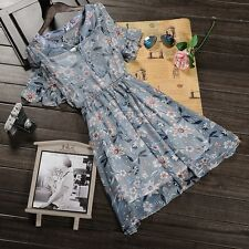 Summer New Short Sleeve Chiffon Floral Round Neck Lotus Leaf Dress Sweet Lolita