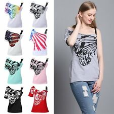 Summer Women Skew Collar Butterfly Print T Shirts Basic Loose Tees Top Plus Size