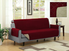 Burgundy / Beige Quilted Reversible Microfiber Pet Dog Couch Furniture Protector