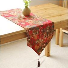 Chinese Style Cotton Linen Vintage Floral Table Runner for Wedding Party Home