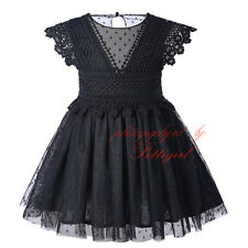 NEW Girl Kids Floral Lace Party Dress Polka Dots Tulle Princess Pageant Birhtday