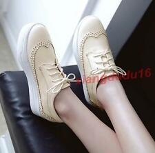 Womens Brogue Oxford Creeper Thick heel Lace-up Stuents Casual Shoes Plus Sz new