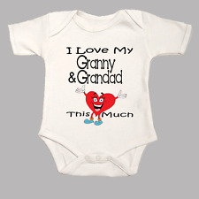 I Love My Granny & Grandad This Much Cute Funny Heart Baby Grow Body Suit Vest