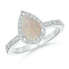 Pear Shape Natural White Opal Wedding Ring with Diamond Halo 14k White Gold