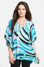 NWT $110 MICHAEL KORS Summer Blue Deco Swirl Print Chain Lace Up Tunic XS