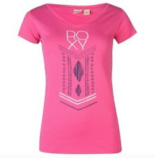 Roxy Mus T-shirt Ladies Surf Shirt T-Shirt Pink White all sizes new with label