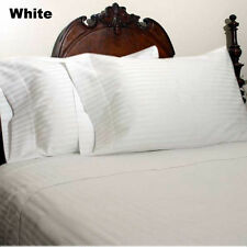 White Striped 1200 TC Soft Egyptian Cotton Complete Bedding Items All UK Size