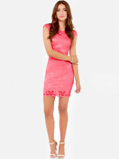 Rubber Ducky gorgeous full lace sexy body fit party mini cocktail dress Pink M,L