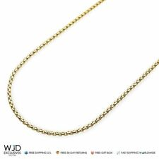 14K Yellow Gold 2.3mm Round Box Link Lobster Clasp Chain Necklace 18-30""
