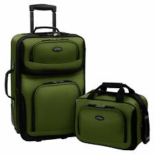 "Carry-On Luggage Set Rolling Suitcase Bags 2-Piece Green Wheeled 21"" Upright NEW"