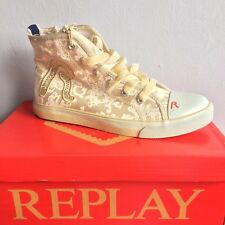 REPLAY & SONS CANVAS HI TOPS LACES AND SIDE ZIP