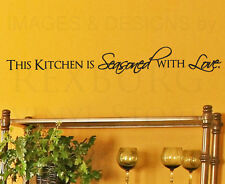 Wall Sticker Decal Quote Vinyl Art Large This Kitchen is Seasoned with Love KI18
