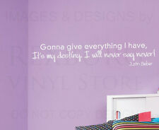 Wall Quote Decal Vinyl Sticker Art Lettering Justin Bieber Never Say Never B68
