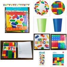 LEGO BLOCK BOY BIRTHDAY Party Supplies Cups Plates Table Cover Invitations Bags