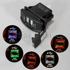 DC 12V 24V Motorcycle Car LED Dual USB Ports Power Charger Supply Socket Adapter