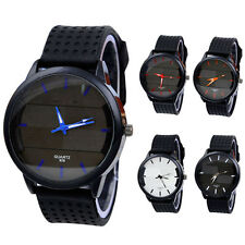 Men's Stylish Casual Silicone Watch Stainless Steel Analog Quartz Wristwatches