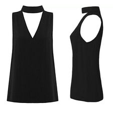 V Neck Womens Blouse Cut Out Shirt Hanging Neck High Neck New Plunge Sleeveless