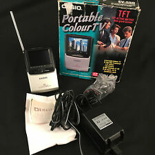 Vintage Casio Portable Television TV EV-550 Boxed with car adaptor & Receipt