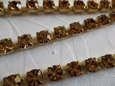 6mm Light Brown Rhinestone Chain - Brass Setting - 29SS Large Czech Crystals