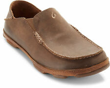 Olukai MOLOA Mens Brown Ray Toffee Leather Casual Comfort Slip On Loafers Shoes