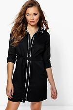 Boohoo Womens Hayley Contrast Tipped Shirt Dress