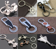 Men Leather Key Chain Metal Car Key Ring Key Holder Gift Personalized Chains CNC